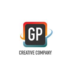 initial letter gp swoosh creative design logo vector image