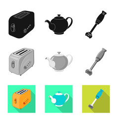 Isolated object of kitchen and cook symbol set of vector