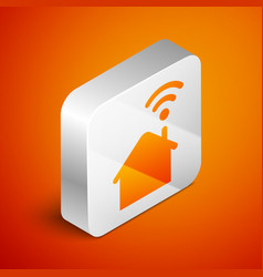 Isometric smart home with wi-fi icon isolated on vector