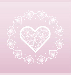 lacy white heart in a frame from hearts valentine vector image