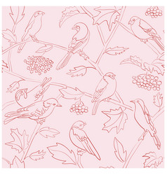 Light rosy seamless pattern with birds silhouettes vector