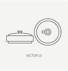 Line flat military icon anti-tank mine vector