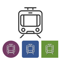 Line icon of tram in different variants vector