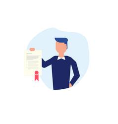 man and diploma vector image