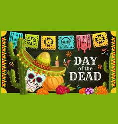 Mexican sugar skull with sombrero day dead vector