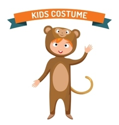 Monkey kid costume isolated vector image vector image