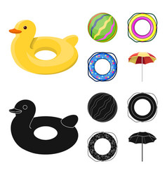 Multicolored swimming circle cartoonblack icons vector