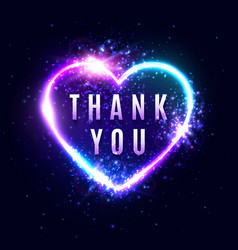neon light thank you sign on dark blue background vector image