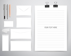 Note book note papers and pen Business working vector