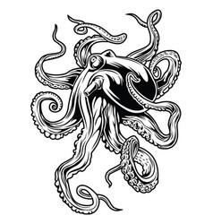 Octopus drawing black design vector