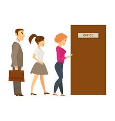 office door line woman and man businessman vector image
