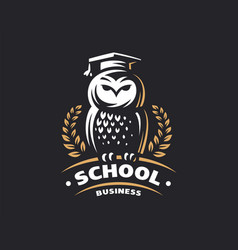 Owl education logo - emblem vector