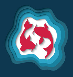 Paper cut out background with 3d effect two koi vector
