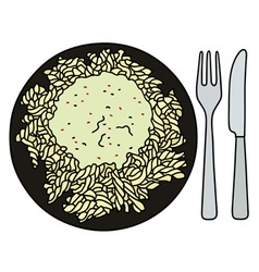 Pasta on the black plate vector