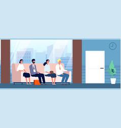 people sitting in hallway office workers vector image
