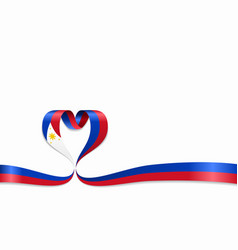 Philippines flag heart-shaped ribbon vector