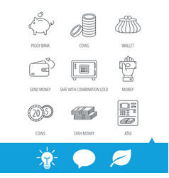 piggy bank cash money and wallet icons vector image