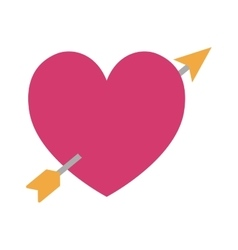 pink heart love arrow icon vector image