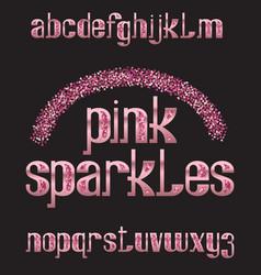 Pink sparkles typeface rose golden glittering vector