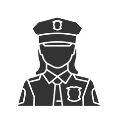 Policewoman glyph icon vector