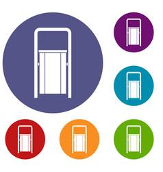 public garbage bin icons set vector image