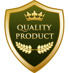 Quality product gold shield vector