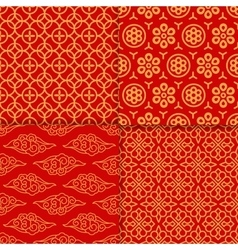 red geometric pattern set vector image
