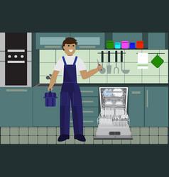 Repairman master repairing dishwasher with vector