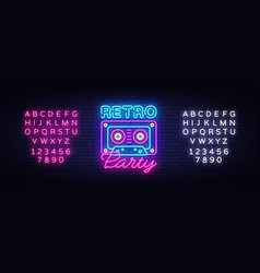 Retro party neon poster card or invitation vector