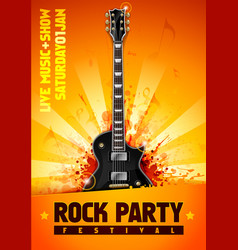 Rock festival flyer design template with guitar vector