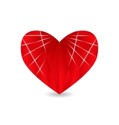 Ruby red heart with faces and shadow Valentine s vector image