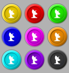 Satellite dish icon sign symbol on nine round vector