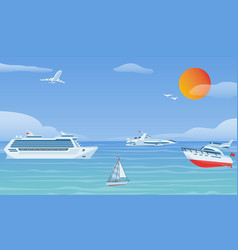 sea boats and little fishing ships sailboats flat vector image