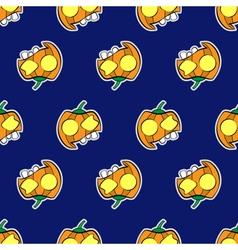 seamless patternr - halloween pumpkins vector image