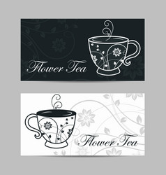 set horizontal banners cup with floral design vector image