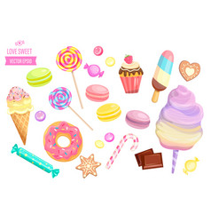 set isolated sweets on white background vector image
