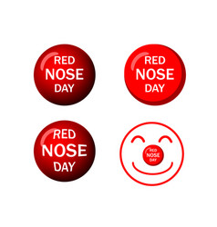 set of red nose icons in design vector image