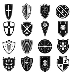 Shields icons set vector
