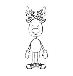 Silhouette blurred reindeer standing with gloves vector