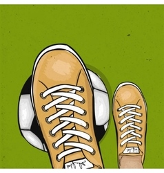Soccer player holding foot ball on the green lawn vector