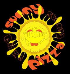solar pizza logo or sticker on black background vector image