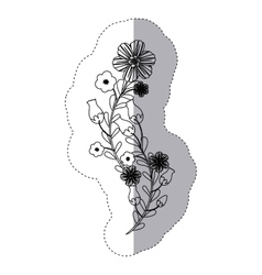 sticker silhouette bouquet flowers and leaves vector image