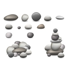Stone pebbles set isolated vector