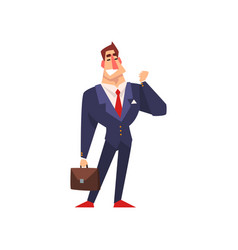 successful businessman character in blue suit with vector image