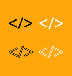 symbol code set black and white icon vector image