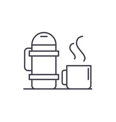 Thermos and mug line icon concept thermos and mug vector