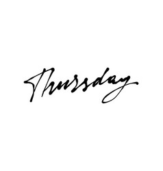 thursday handwriting ink vector image