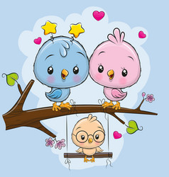 two cute birds and a chick vector image