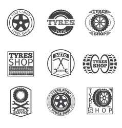 Tyre store logo vintage car label vector