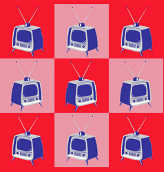 vintage television pattern seamless texture vector image